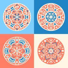 Set Of Four Decorative Round Elements Stock Photography