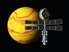Free Yellow Planet With Space Probe Royalty Free Stock Image - 30481736