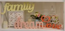 Free Carving Words Family, Dream, Love Royalty Free Stock Photo - 30488325