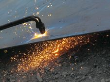 Cutting Steel Sheet Burner. Stock Photos