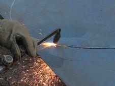 Cutting Steel Sheet Burner. Royalty Free Stock Image