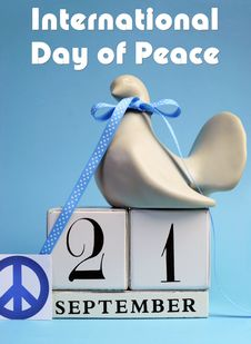 Calendar Date For September 21, International Day Of Peace, World Peace Day. Vertical With Text. Royalty Free Stock Photography
