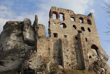 Ogrodzieniec Castle Ruins Poland. Royalty Free Stock Images