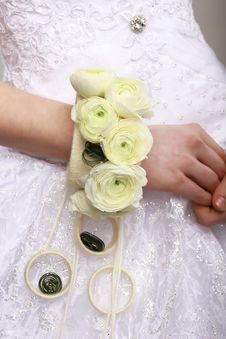Free Arrangement. Bouquet Of Flowers As A Bracelet On Woman S Hands. Floristics Royalty Free Stock Photo - 30495215