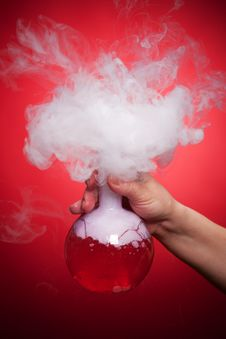 Free Steaming Flask With Red Liquid Stock Photography - 30498272