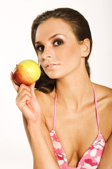 Free Woman With Red Apple Stock Photo - 3052690