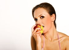 Free Woman With Red Apple Stock Photography - 3052692