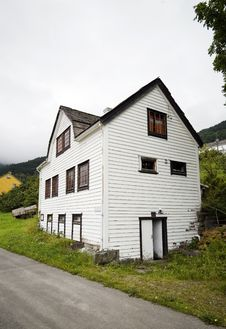 White, Wooden House, Norway Royalty Free Stock Photography