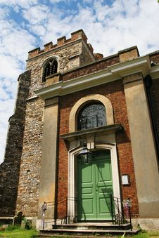 Church Door And Tower Royalty Free Stock Photography