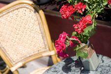 Free Chair With Red Flowers Royalty Free Stock Photo - 3058105