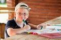 Free Cute Boy Drawing In Wooden Gazebo Stock Image - 30505371