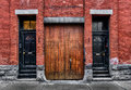 Free Old  Wooden Doors & Brick Wall Royalty Free Stock Photography - 30508857