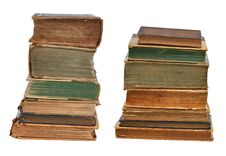 Two Piles Of Old Books Royalty Free Stock Image