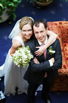 Portrait Of Happy Bride And Groom Stock Image