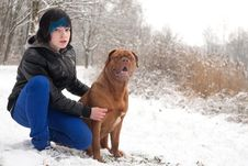Free Emo Boy And His Dog Are Waiting Stock Photos - 30502833