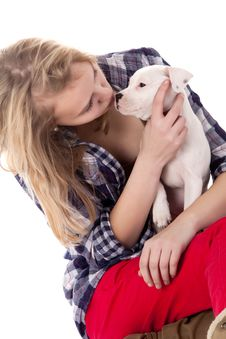 Free Cuddling With My Puppy Royalty Free Stock Photos - 30502868