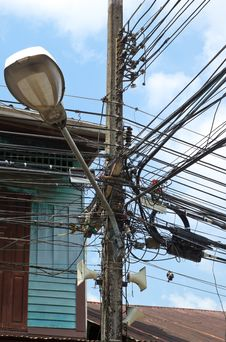 Electric Wire Disorganized On Electric Pole