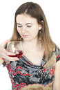 Free Young Woman With Beautiful Green Eyes Drinking Glass Of Wine Stock Photo - 30512040