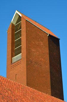 Modern Red Church Tower Royalty Free Stock Photos