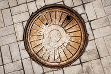 Manhole On Road Stock Photo