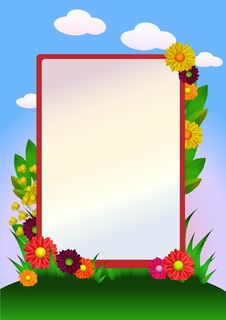 Free Flowers Border With Grass And Sky Royalty Free Stock Photos - 30517108