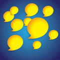 Free Yellow Paper Speech Bubbles On Blue Gradient Background-graphic Stock Image - 30521571