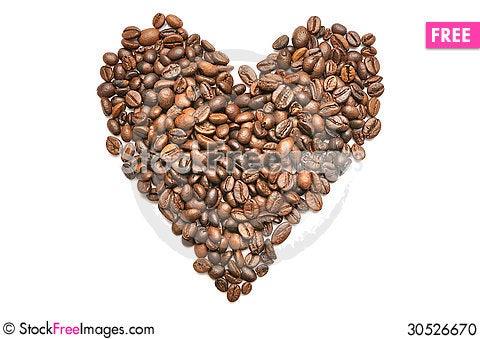 Free Heart Shape Coffee Beans Stock Photo - 30526670