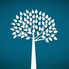 Abstract White Paper Tree, On Blue Background Royalty Free Stock Photography