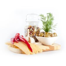 Free Cheese, Bean Soup, Olives And Chilli On A Wooden Board Stock Photo - 30525780