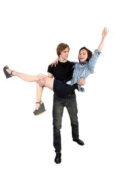 Free Handsome Man Holding Joyful Woman Stock Images - 30525894