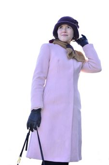 Free Female In Pink Coat Stock Image - 30528621