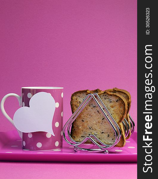 Pink breakfast tray for Mothers Day, birthday or Pink Ribbon charity - vertical with copy space.