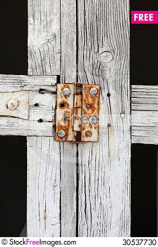 Free Close Up Rusty Hinge On White Gate Stock Photo - 30537730