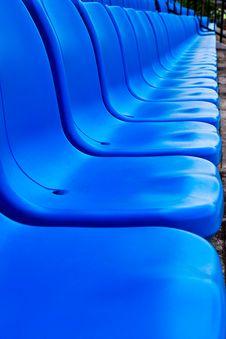 Blue Seat   In Football Stadium Royalty Free Stock Image