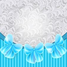Free Vintage Card With Blue Bows Royalty Free Stock Photo - 30535605