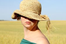 Pretty Woman  In The Hat Stock Photos