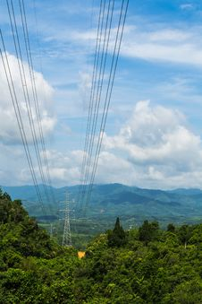 Free High Voltage Lines Beneath The Blue Cloudy Sky Royalty Free Stock Photography - 30537667
