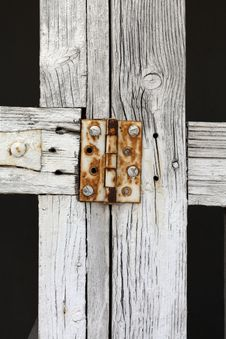 Free Close Up Rusty Hinge On White Gate Stock Photo - 30537730