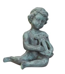 Free Statue Of Cherub Playing Lyre Isolated. Stock Photo - 30543030