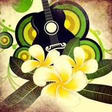 Free Grunge Plumeria Flowers And Guitar Royalty Free Stock Photo - 30548805