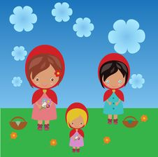 Free Red Riding Hood Sisters Royalty Free Stock Photos - 30549778