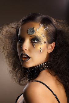 Free Futurism. Bodyart. Golden Painted Woman S Skin With Silver Accessory. Art Deco Stock Images - 30554714
