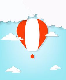 Free Red Hot Air Balloon And Clouds Royalty Free Stock Image - 30557266