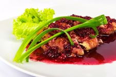 Free Meat In A Raspberry Sauce Stock Photo - 30557620