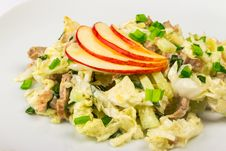 Meat Salad With  Apples Stock Photography