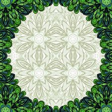 Green Floral Round Frame Stock Image