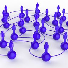 Free 3d Blue Human Social Network Royalty Free Stock Photography - 30559237