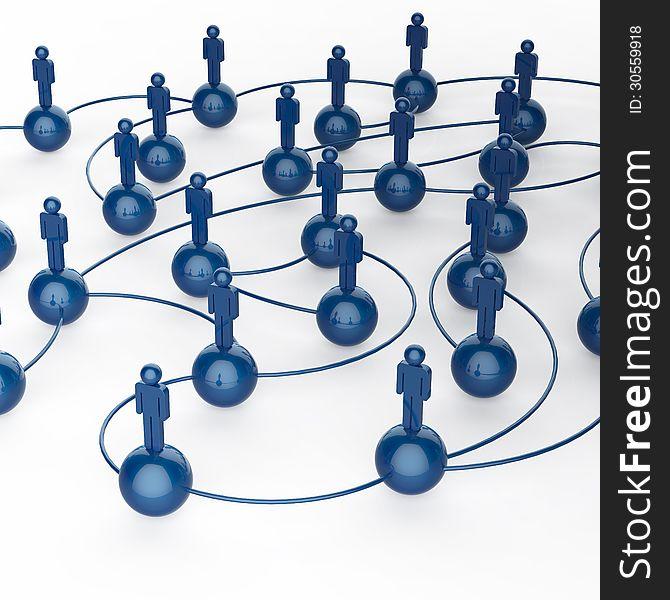 3d blue human social network