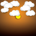 Free Sky Background- White Paper Clouds & Evening Sky With Sun Stock Photography - 30567942