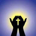Free Person Praying Or Worshiping With Cross In Hand - Illustration Royalty Free Stock Photography - 30569507